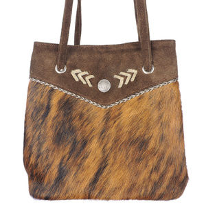American West Buffalo Nickle Fur Leather Handbag